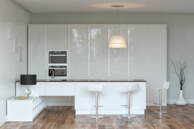 White Hi-Tech Kitchen With Bar and lighter