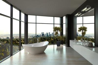 Modern white luxury bathroom interior