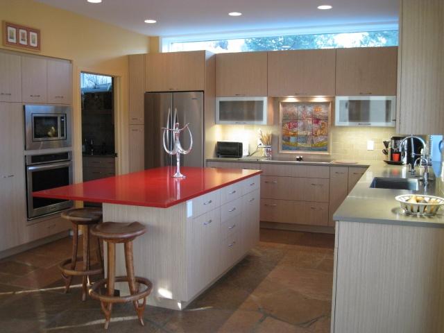 Modern Eye Catching Red Modern Kitchen Center